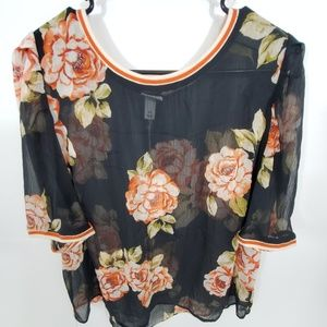 Women's Floral Print Short Sleeve Woven T-Shirt